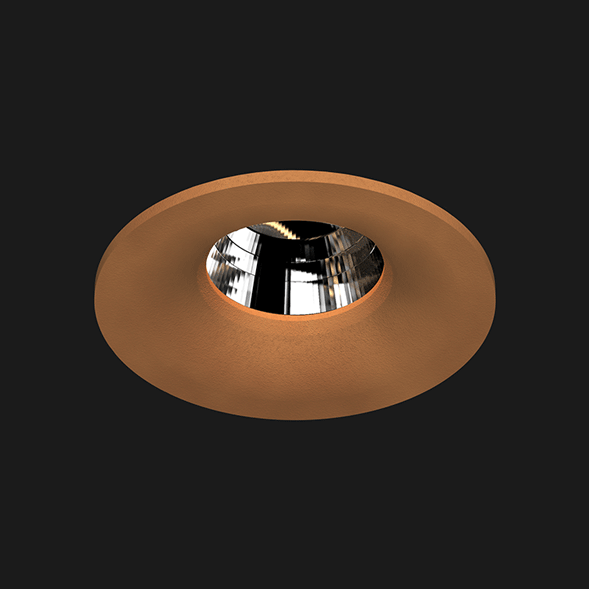 A corten round fix led downlight with black background
