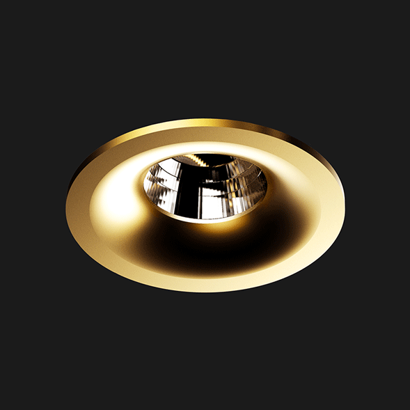 A gold round fix led downlight with black background