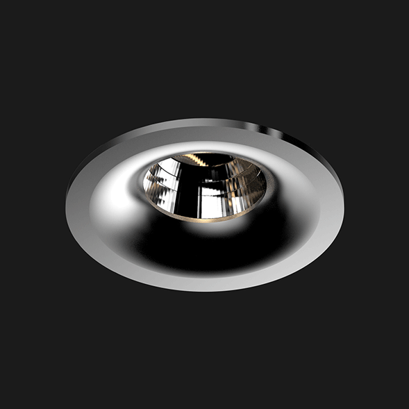 A chrome round fix led downlight with black background