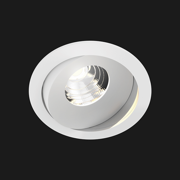 A white round led downlight with black background