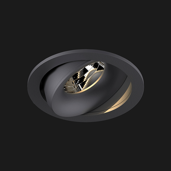 A anthracite round led downlight with black background