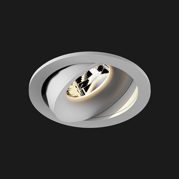A grey round led downlight with black background