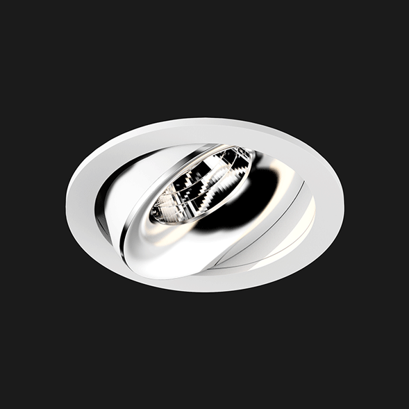 A white and chrome round led downlight with black background