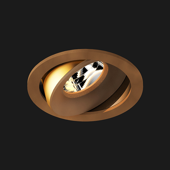 A corten round led downlight with black background