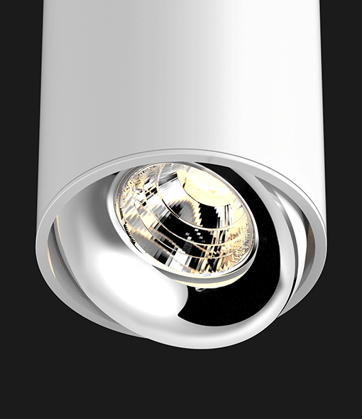 White Chrome ceiling light on a black background