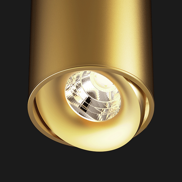 Gold ceiling light on a black background