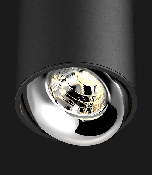 Black Chrome ceiling light on a black background