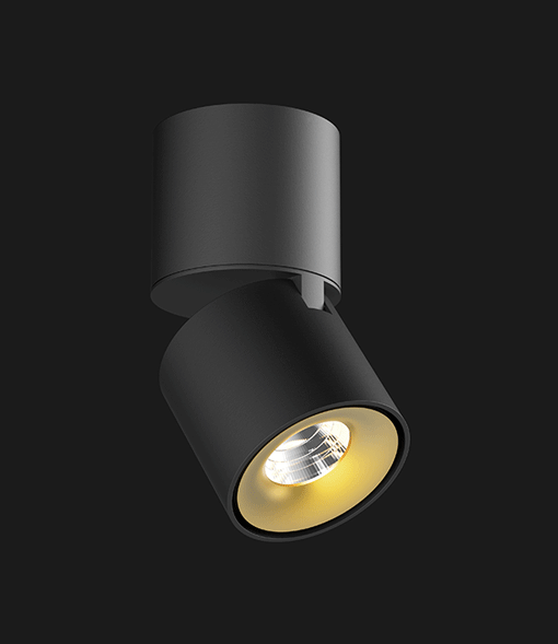 A black and gold Led Spotlights with a black background.