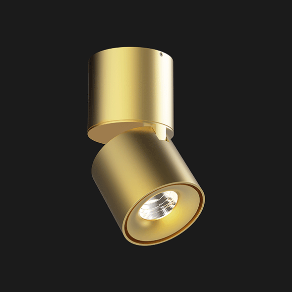 A gold Led Spotlights with a black background.