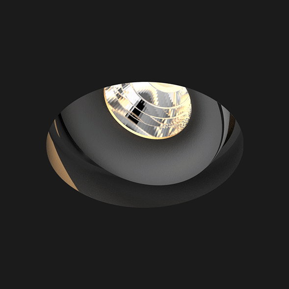 A black deep led downlight with a black background