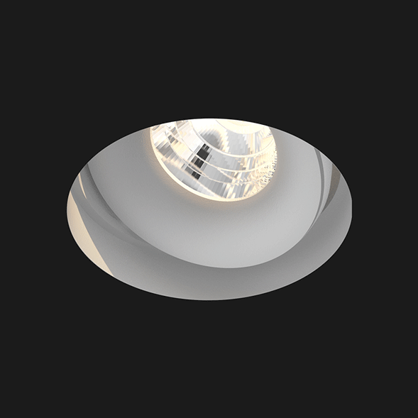 A grey deep led downlight with black background