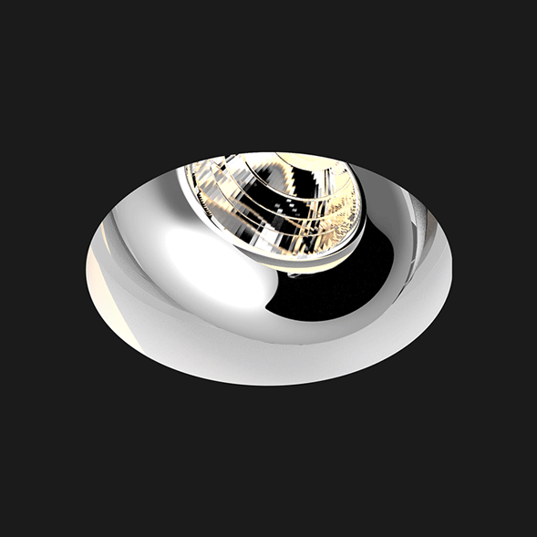 A deep white and chrome led downlight with black background
