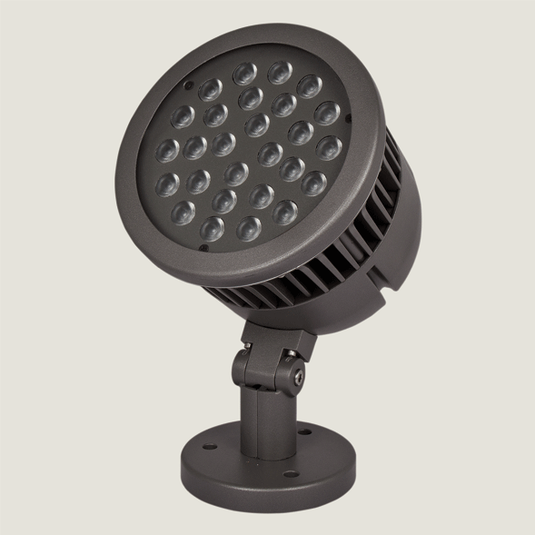 A maxi black outdoor spotlight with a grey background.