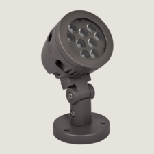 A black mini outdoor spotlight with grey background.