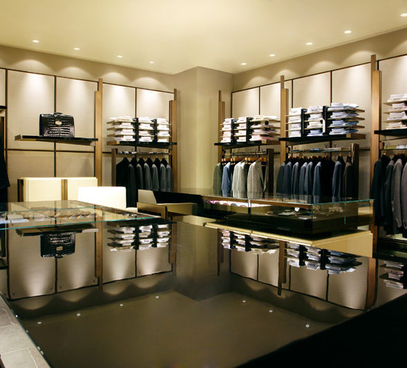 A luxury men clothes shop with led downlights.