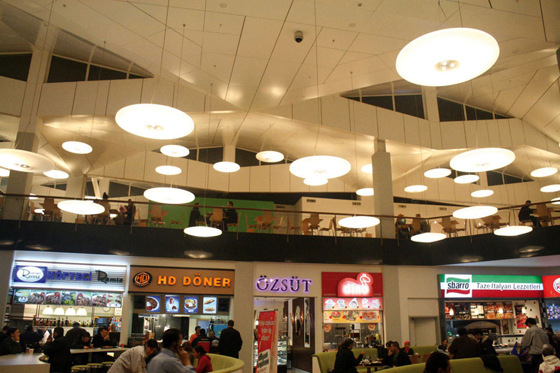A shopping centre in Istanbul with pendant lights.