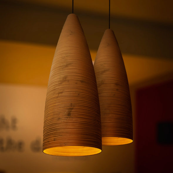 A corten stylish pendant light on a restaurant.