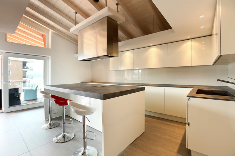 A modern kitchen with led downlights
