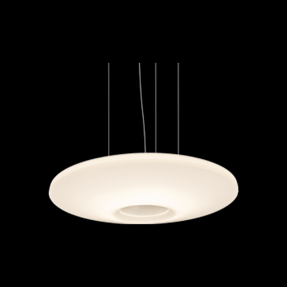 A white stylish pendant light with black background.