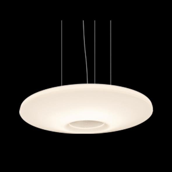 A white stylish pendant light with black background.