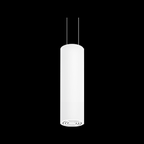 A white round pendant light with a black background.