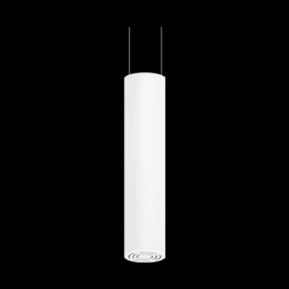 A large white round pendant light with black background.