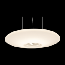 A large stylish round pendant light on a black background.