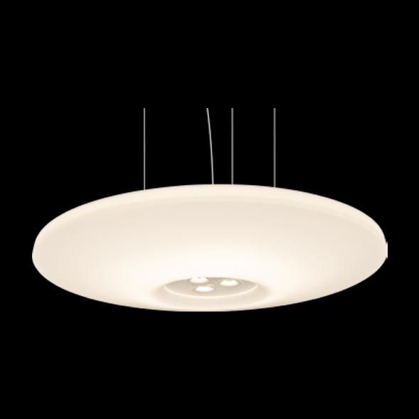 A large stylish round pendant light on a black background.