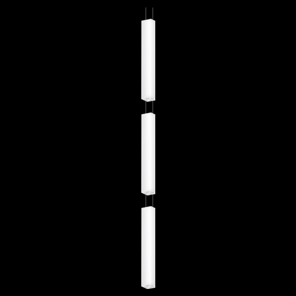 A triple white square pendant light with black background.