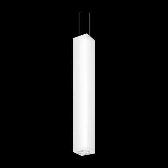 A large white square pendant light with black background.
