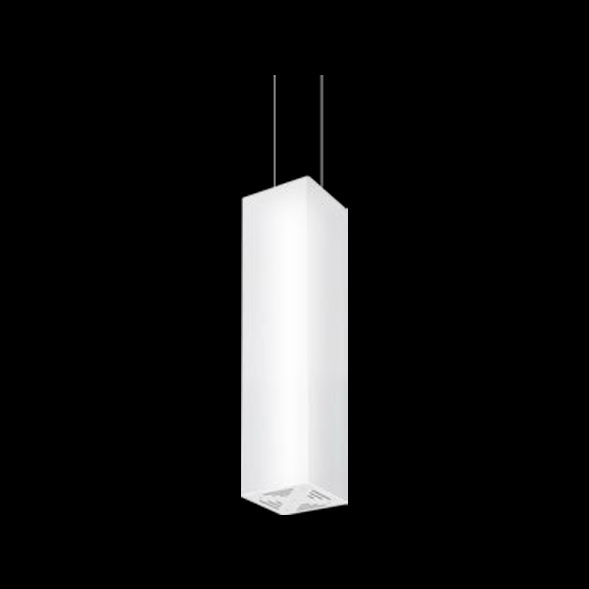 A white pendant light with black background.