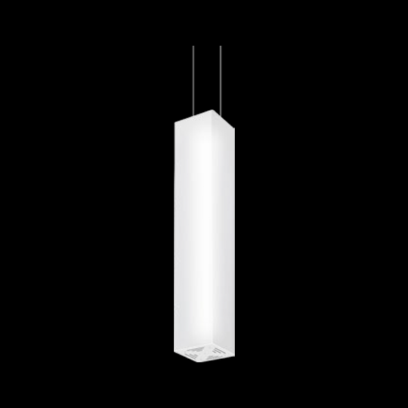 A large white pendant light with black background.