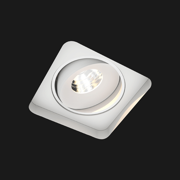 White Led Downlight Titan Trimless Square Cone on a black background